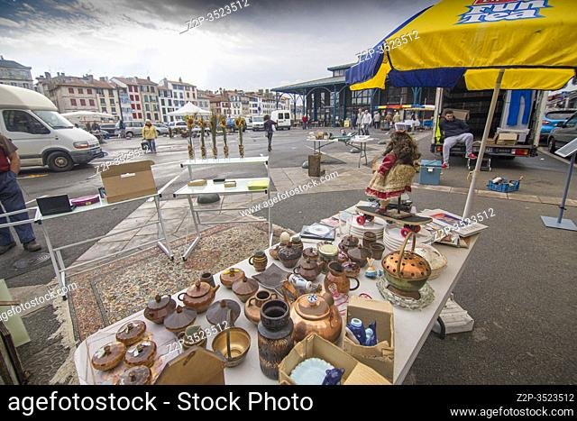 Bayonne in Aquitaine, on October 14, 2016 in France. The flea market