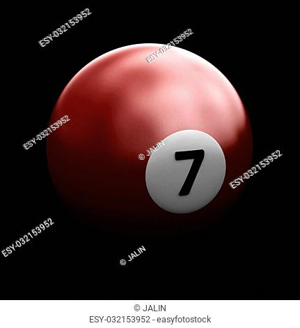 Single colorful pool ball on a black background