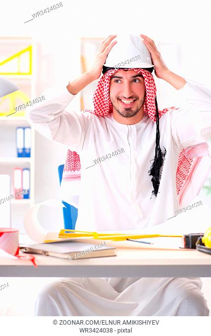 Arab engineer working on new project