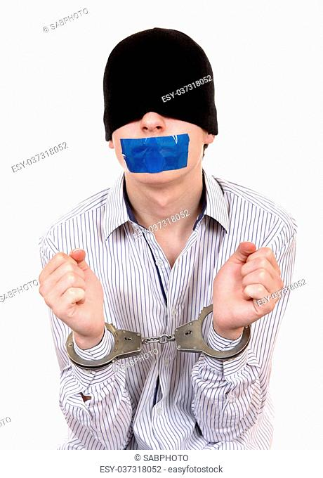 Hostage with Sealed Mouth in Handcuffs Isolated on the White Background