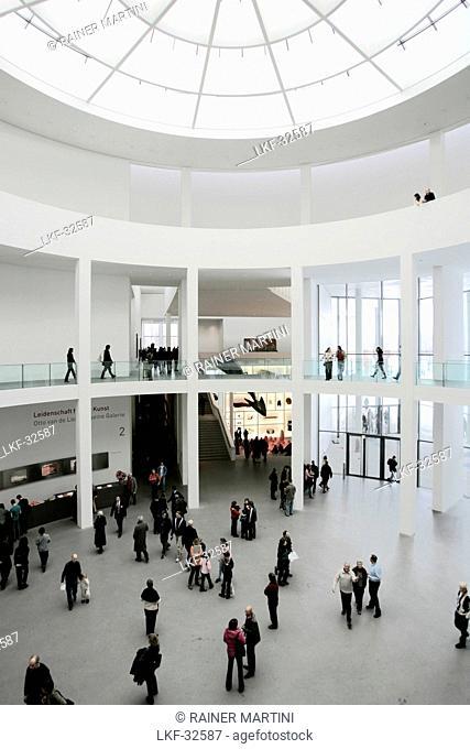 People at the rotunda of the Pinakothek der Moderne, Munich, Bavaria, Germany, Europe