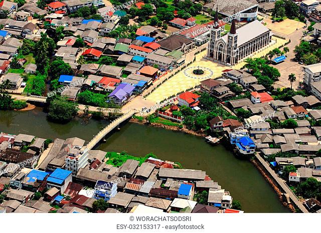 High angle view of city,Thailand