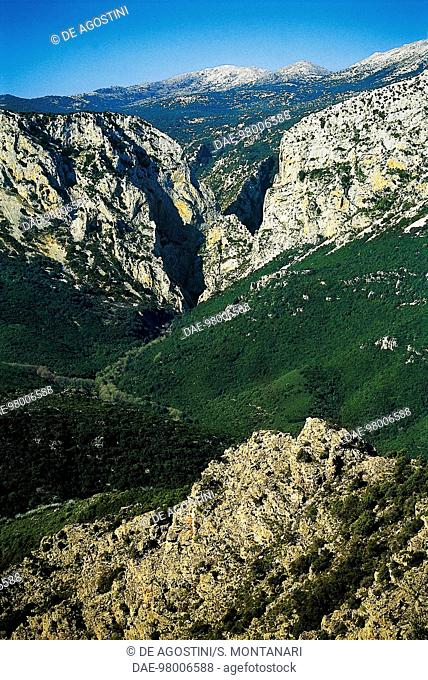 Gorropu or Gorroppu Gorge, near Dorgali, Supramonte, Sardinia, Italy