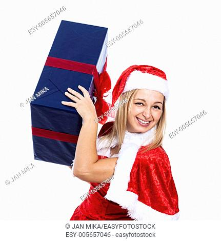 Funny happy Christmas woman with big present, isolated on white background