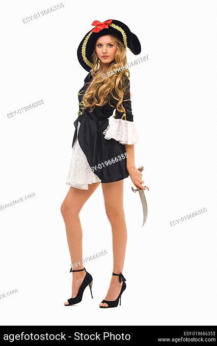 Beautiful woman in carnival costume. Pirate shape