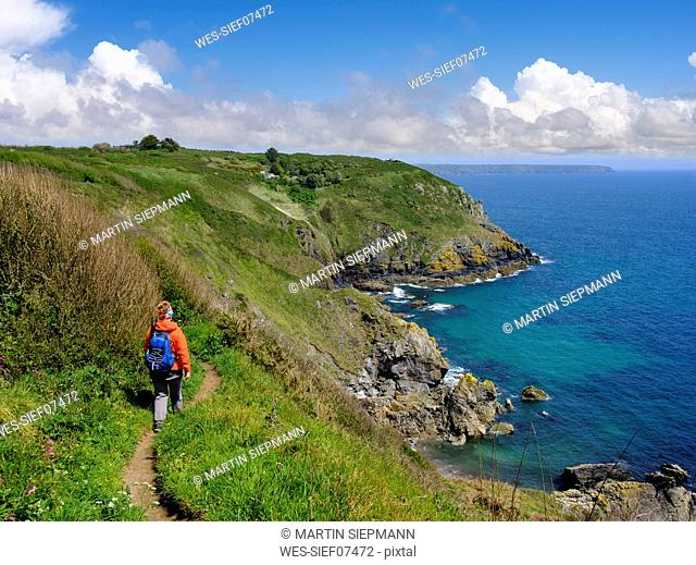 UK, England, Cornwall, The Lizard, woman hiking at the coast near Cadgwith