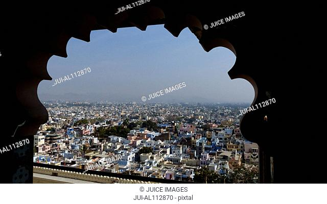 View from City Palace to the City of Udaipur, Rajasthan, India, South Asia