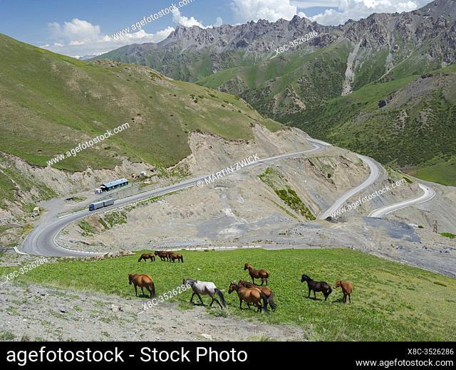 Taldyk mountain pass. Landscape along the Pamir Highway. The mountain range Tian Shan or Heavenly Mountains. Asia, Central Asia, Kyrgyzstan