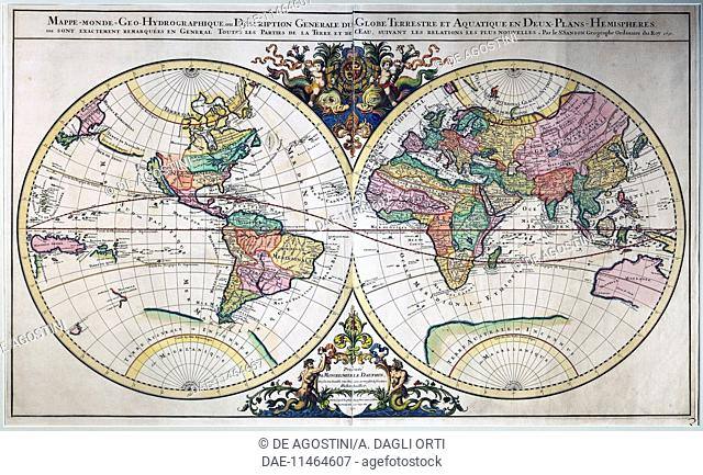 World map maritime museum belem lisbon portugal stock photo illustrated double hemisphere world map 1692 engraving from the atlas nouveau by gumiabroncs Images