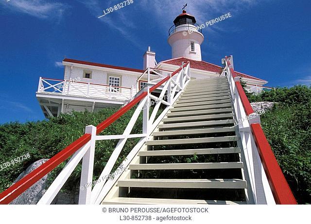 Lighthouse, Pot à l'Eau-de-vie island, Quebec, Canada