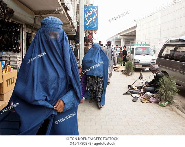 women dressed in burqa, kabul, afghanistan