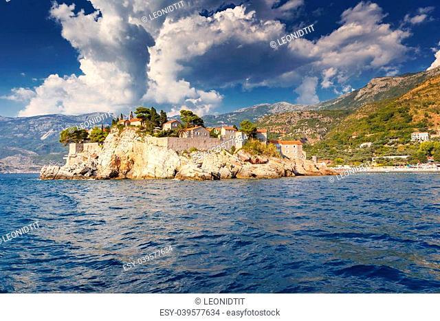 Sveti Stefan, small islet and resort in Montenegro. Balkans, Adriatic sea, Europe. Beauty world