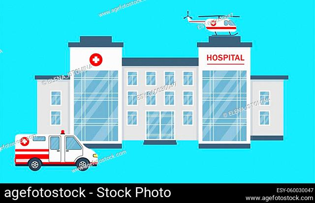 Hospital or clinic building, car and helicopter. Healthcare, medical or emergency service concept. Vector illustration in flat style isolated on blue background