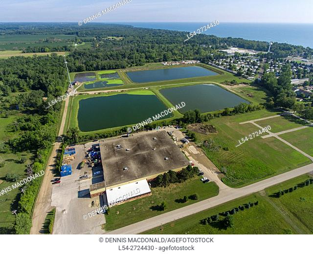 Aerial view of a lagoon waste water treatment system in Lexington Michigan