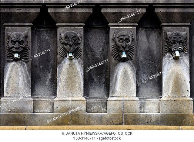 Detail of fountain - La Fontaine Urbain II by sculptor Henri Gourgouillon raised in 1898, Place de la Victoire near Notre Dame de L'Assomption Cathedral -...