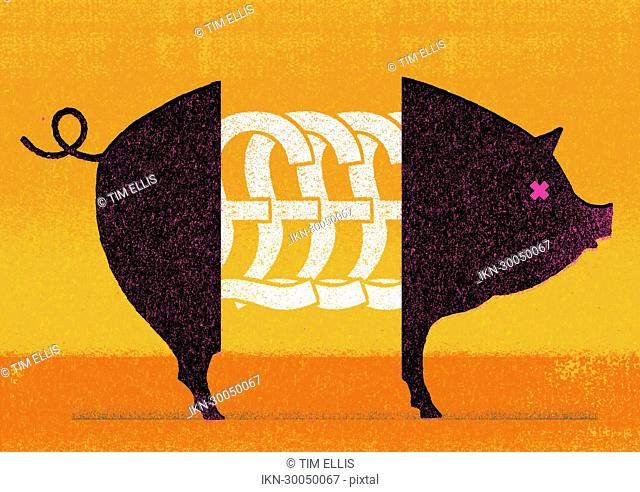 British pound symbols in middle of pig