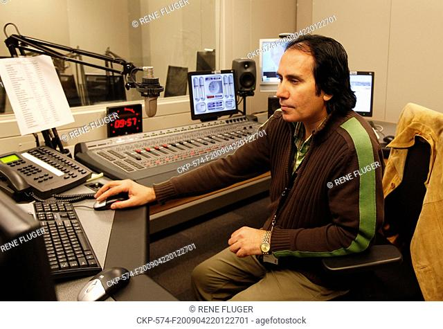 A redactor in a broadcasting studio inside the new bulding of Radio Free Europe/Radio Liberty in Prague on a file photo from April 21
