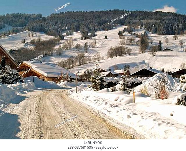 Megeve Ski Resort in French Alps under snow