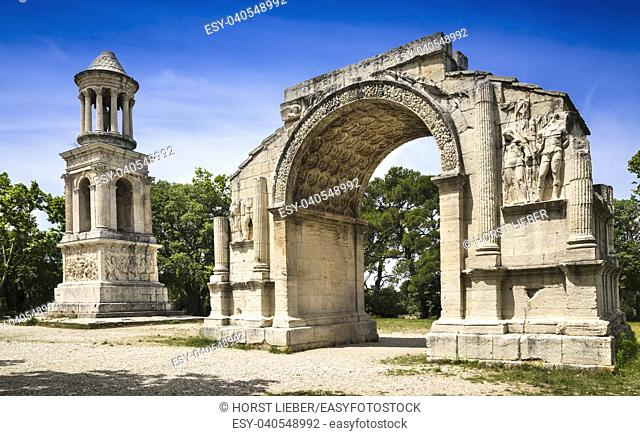 Roman Triumphal Arch and Roman Mausoleum of the ancient Glanum. Saint Remy-de-Provence, Bouches-du-Rhone, Provence-Alpes-Cote dâ