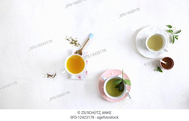 Orange tea, sage and lemon tea and mint and lemongrass tea