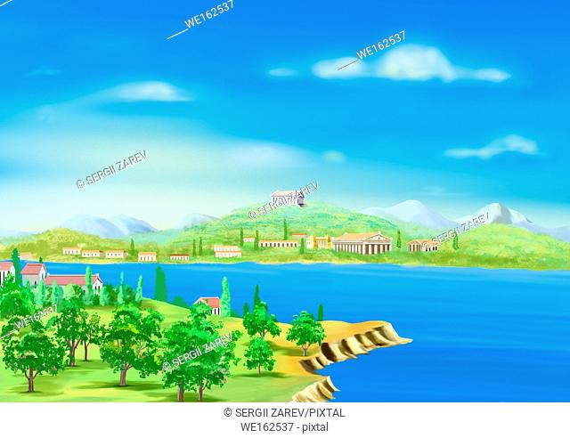 View of Ancient Greek Harbor in a Sunny Summer Day. Digital Painting Background, Illustration in cartoon style character