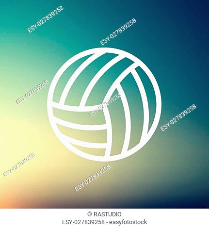 Volleyball ball icon thin line for web and mobile, modern minimalistic flat design. Vector white icon on gradient mesh background