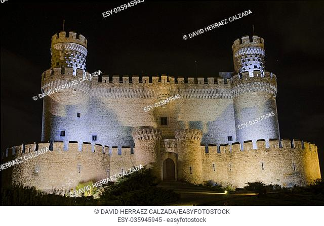 Manzanares el Real Castle at night, Madrid Spain