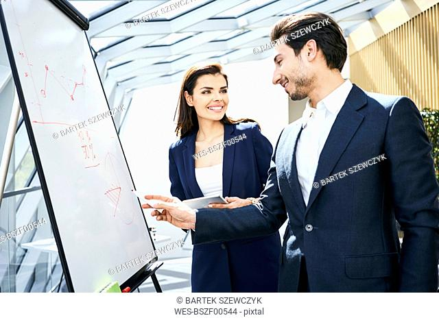 Businessman and businesswoman working with flip chart in office