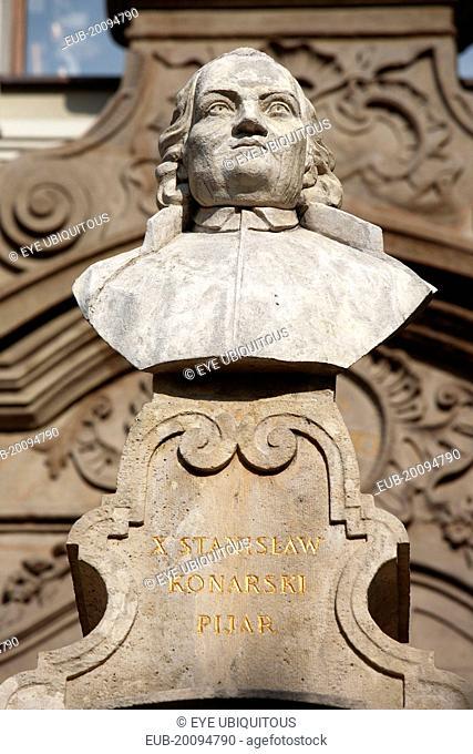 Portrait bust of Stanislaw Konarski 1700 - 1773 Polish poet dramatist and educational reformer