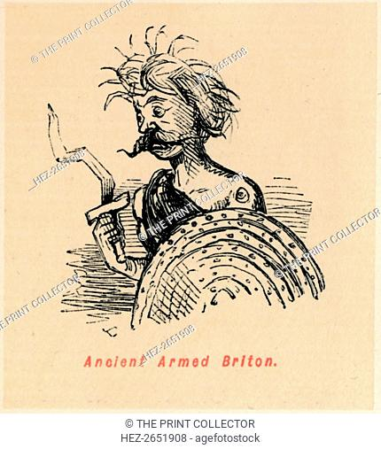 'Ancient Armed Briton', c1860, (c1860). From The Comic History of England, Volume I, by Gilbert A A'Beckett. [Bradbury, Agnew, & Co., London]