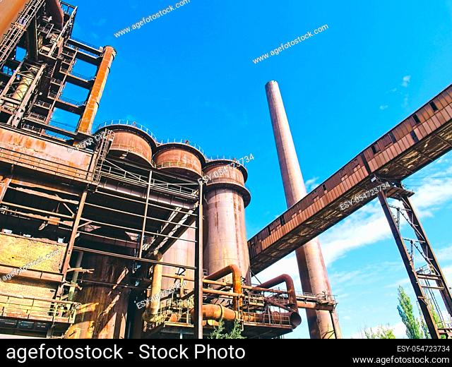 View of the old blast furnace of the metallurgical plant