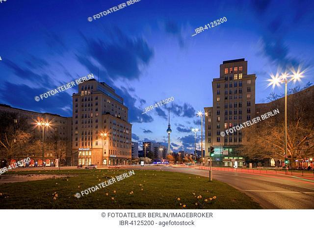 View towards Alexanderplatz square from Strausberger Platz square, Berlin, Germany