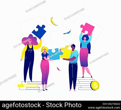 Teambuilding - modern flat design style colorful illustration on white background. Quality composition with cute characters, office workers