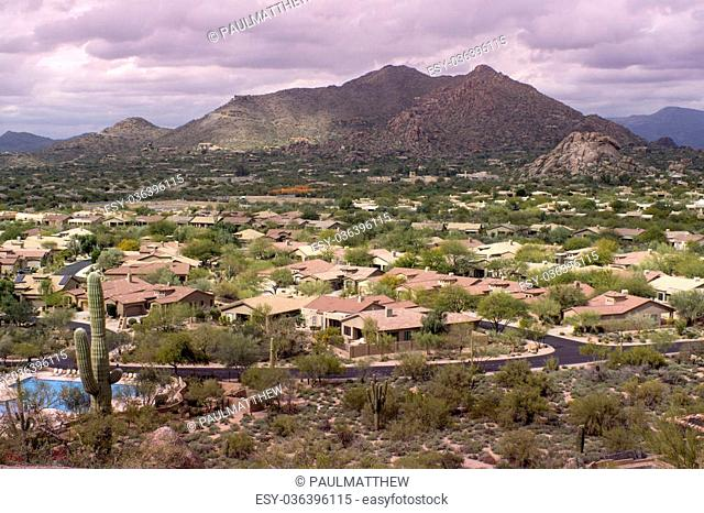 High viewpoint of Arizona north Scottsdale,Cavecreek community with Mountain in background