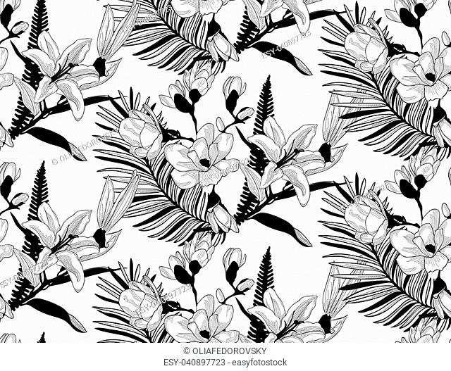 Vector Black Decorative Seamless Background Pattern with Drawn Flowers and Leaves, Cherry Blossom, Fern Leaf, Lily. Hand Drawn