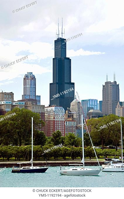 View of Chicago's Monroe Harbor sailboats and Sears Tower from Shedd Aquarium