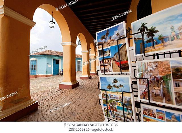 Postcards near the Casa de la Cultura in Plaza Mayor, Trinidad, Sancti Spíritus Province, Cuba, Central America