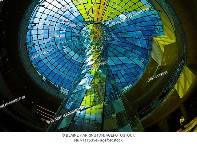 Glass sculpture in one of the atriums of the Wafi City Mall an Egptian themed mall, Dubai, United Arab Emirates