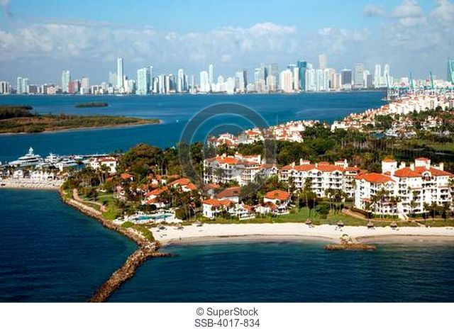 Aerial of Fisher Island and the Miami Skyline