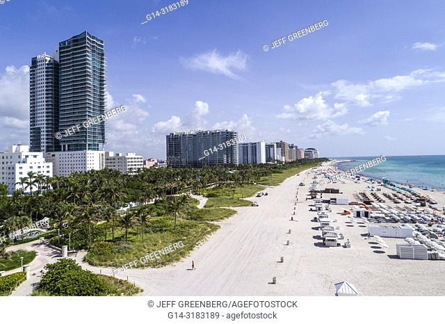Florida, Miami Beach, aerial overhead bird's eye view above, hotel hotels, Atlantic Ocean public beach, The Setai residents hotel, W South Beach