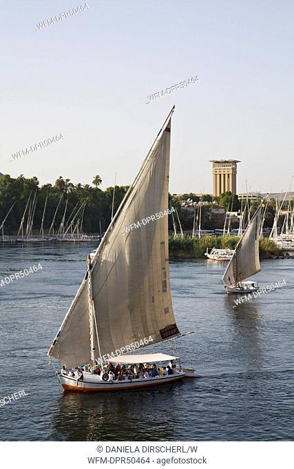 Feluccas on Nile River, Aswan, Egypt