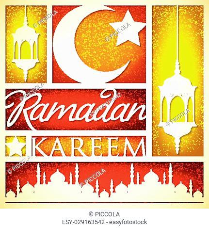 """Paper cut out """"""""Ramadan Kareem"""""""" (Generous Ramadan) card in vector format"""