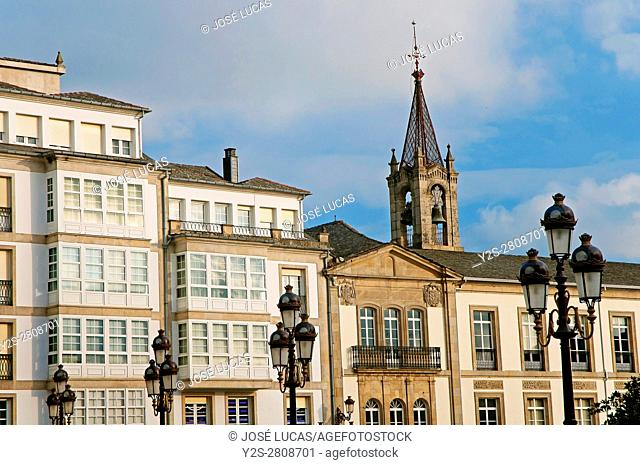 Old buildings in the Plaza Mayor, Lugo, Region of Galicia, Spain, Europe