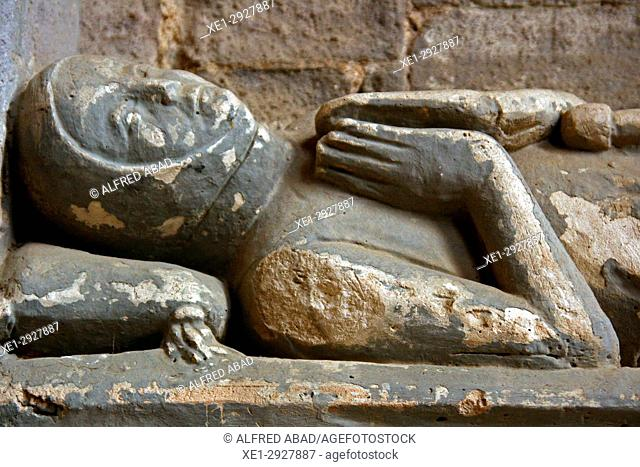 Sepulchre of Ponce VI, Basilica of Santa Maria, Castello d'Empuries, Girona, Catalonia, Spain