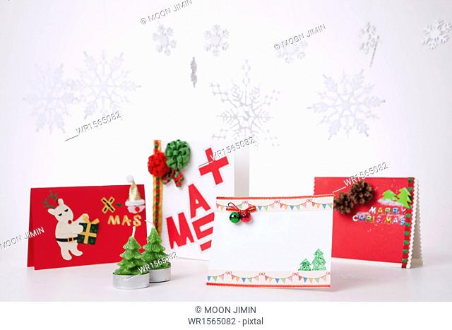 Christmas cards in white background