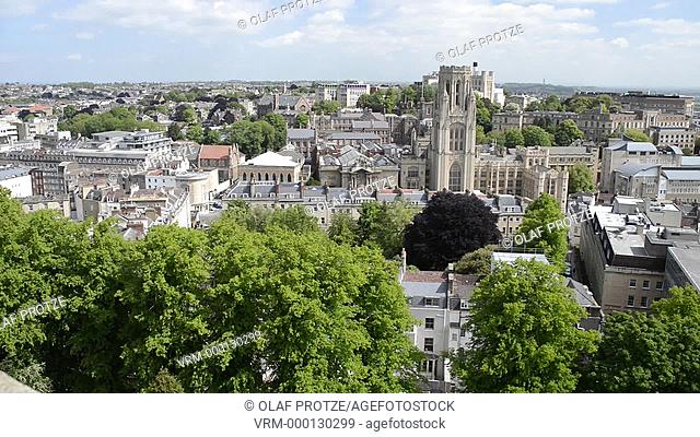 View over the city center of Bristol seen from the Cabot Tower Somerset England UK