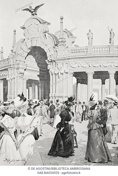 Main entrance to the National Exhibition of Turin Piedmont, Italy, drawing by Achille Beltrame (1871-1945), from L'Illustrazione Italiana, Year XXV, No 18