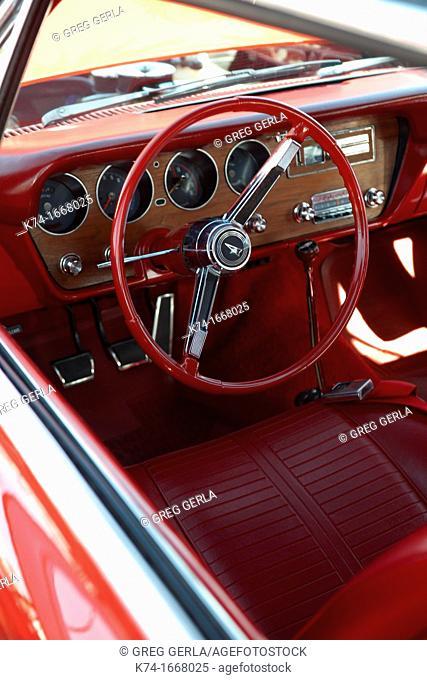 Interior of antique vehicle