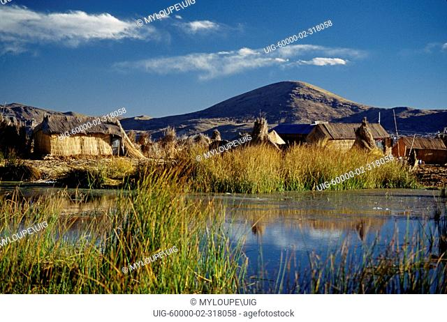 LAKE TITICACA & the FLOATING ISLANDS, which are made entirely of reeds, near PUNO - PERU