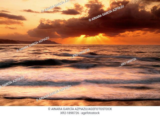 Sunset in Itzurun beach, Zumaia, Basque Country, Spain